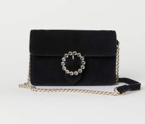Handtasche aus Veloursleder - Schwarz