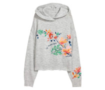 Gestrickter Kapuzenpullover - Graumeliert/Blumen
