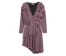Kleid mit V-Ausschnitt - Puderrosa/Schwarz gestreift