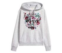 Bedruckter Hoodie - Hellgrau/Happiness Blooms