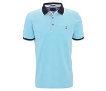 Poloshirt, Brusttasche, reine Baumwolle, Blau