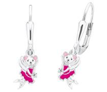 Ohrhänger, Maus, pink, 925er Sterlingsilber