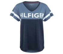 T-Shirt, Logo-Print, V-Ausschnitt, für Damen, Blau