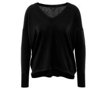 Pullover, V-Ausschnitt, verlängerter Rücken, uni, Blau