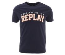 T-Shirt, Baumwolle, Logo-Print, Blau