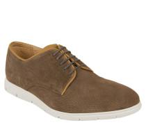 Sneaker, strukturiertes Leder, kontrastfarbene Nähte, Braun