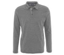 Polo-Shirt, Langarm, Baumwoll-Mix, meliert, Grau