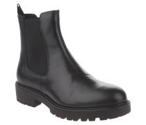 Chelsea Boots, Leder, Profilsohle, Zugschlaufe, Schwarz