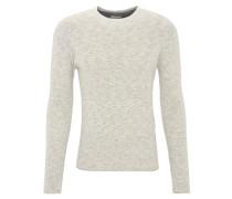 Pullover, meliert, Rollsaum, Baumwoll-Mischung, Beige