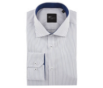 Black Label Businesshemd, Slim Fit, gestreift, Kent-Kragen, Weiß