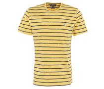 """T-Shirt """"Dalewood"""", Streifen-Design, Logo-Stickerei, Baumwolle, Gelb"""