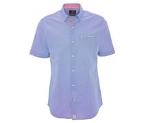 Freizeithemd, Modern Fit, Kurzarm, fein gemustert, Blau