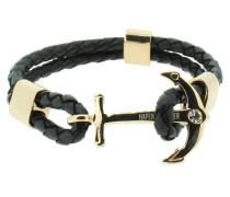 Anker Armband 107683 Edelstahl Leder Zirkonia schwarz rosegold