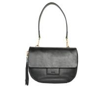 Handtasche, Leder, Zier-Anhänger, Schwarz