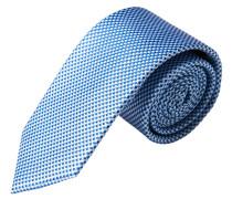Krawatte, reine Seide, handgefertigt, blau, kariert