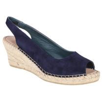 Sandalette, Keilabsatz, Ledermaterial, Blau