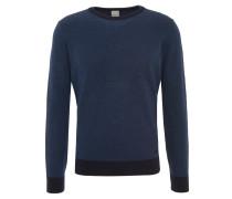 Pullover, dezent gemustert, Metall-Emblem, Ripp-Bund, Blau