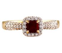 Ring, Rubin, mit Zirkonia, Gold 375