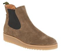 Chelsea Boots, Veloursleder, Plateau, Kreppsohle, Braun