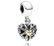 Charm-Anhänger Herz Silber mit Gold 791274