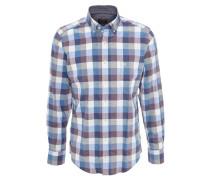 Freizeithemd, kariert, Button-Down-Kragen, Blau