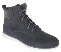 Stiefel, Leder, Schnürung, Blockabsatz, Profilsohle, Blau