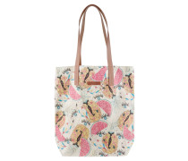 Shopper, Flamingo-Ananas-Muster, Leder-Details