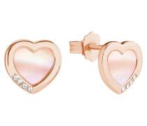 Damen-Ohrringe mit Perlmutt-Herz rosé