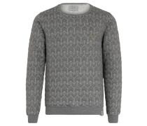 Sweatshirt, gestepptes Muster, meliert, Emblem, Grau