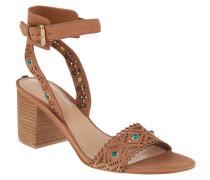 Sandaletten, Leder, ausgestanzt, Deko-Steine, Braun