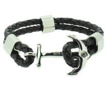 Anker Armband 107681 Edelstahl Leder Zirkonia schwarz silber
