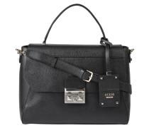 Handtasche, abnehmbarer Schulterriemen, Magnetdruckknopf, Schwarz