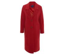 Wollmantel, Reverse-Kragen, angedeutete Taschen, Knopfverschluss, Rot