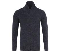 Pullover, Klappkragen, meliert, Emblem, Blau