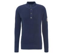 Pullover, maritimer Look, Knopfleiste, Strick, Emblem, Stehkragen