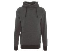 Sweatshirt, meliert, Wickelkragen, Kapuze, Kängurutasche, Grau