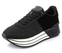 Sneaker, Samt-Optik, Plateau