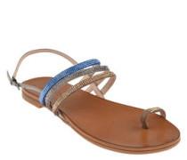 Sandalen, Strass-Riemen, Zehenschlaufe, Leder-Fußbett
