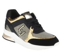 Sneaker, Materialmix, Wechselfußbett, Logo-Emblem, Schwarz