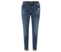 Jeans, Zier-Steine, Stretch, Blau
