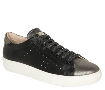 Sneaker, Low-Rise, Muster-Mix, Leder, Schwarz