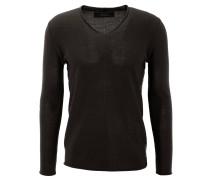 Pullover, V-Ausschnitt, Woll-Anteil, Rollsaum, Schwarz
