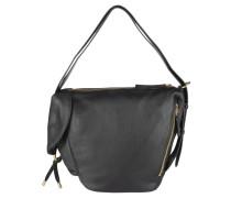 Handtasche, Tragegriff, Reißverschlüsse, Steckfach, Leder, Schwarz