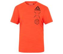 T-Shirt, atmungsaktiv, Frontprint, für Damen, Orange