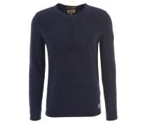 Pullover, Rundhalsausschnitt, Leder-Emblem, meliert, Blau