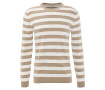Pullover, Strick, Baumwolle, Streifen, Beige