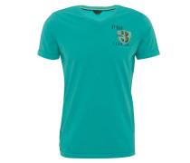 T-Shirt, Print, breite Säume, V-Ausschnitt, Türkis