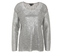 Pullover, Metallic-Optik, Grobstrick, Grau
