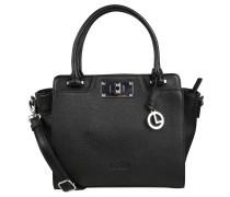 "Handtasche ""Basel"", Leder, Zierschließe, Logo-Anhänger, Schwarz"