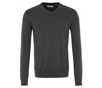 Pullover, Strick, V-Ausschnitt, reine Baumwolle, Grau